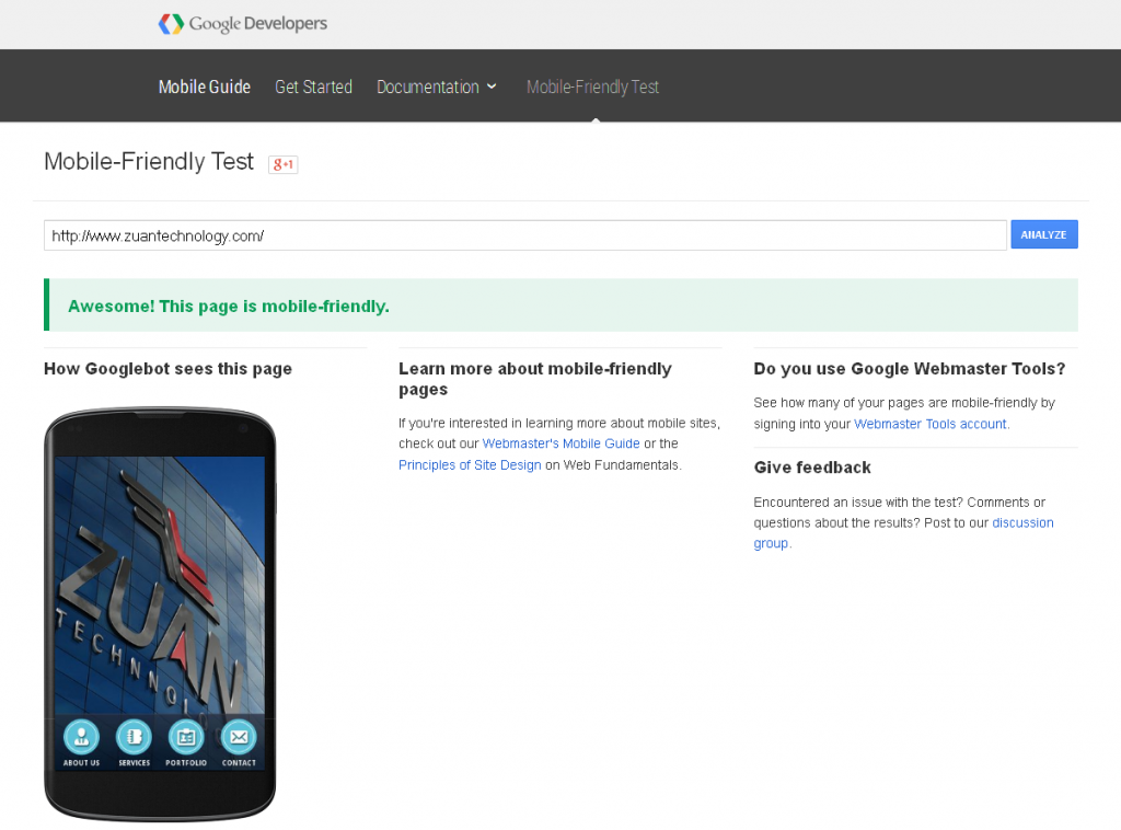 Google's Mobile-Friendly Test