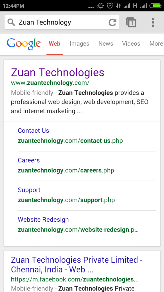 Zuan Technologies SERP screeshot